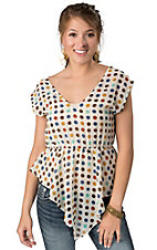 Hot & Delicious® Women's Cream with Multi Dot Print Cap Sleeve Sheer Fashion Top