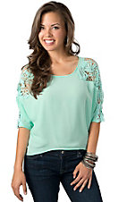 Hot & Delicious® Women's Mint Chiffon with Open Crochet Dolman Sleeves Fashion Top