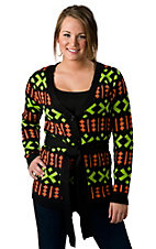 Flying Tomato® Ladies Black with Green and Orange Long Sleeve Sweater Jacket