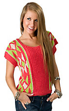 Flying Tomato® Women's Bright Coral and Neon Green Aztec Knit Short Sleeve Fashion Top
