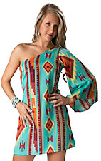 Karlie® Women's Turquoise, Wine, Yellow and Orange Aztec One Shoulder Dress