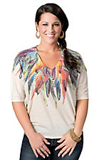 Karlie® Women's Ivory with Multi-Colored Feathers V-Neck Short Sleeve Fashion Top