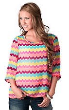 Karlie® Women's Fuchsia Neon Chevron 3/4 Sleeve Scoop Neck Fashion Top