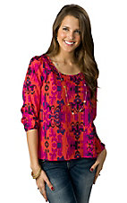 Karlie® Women's Fuschia Pink Vintage Fleur de Lis Button Back 3/4 Sleeve Fashion Top