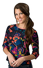 Karlie® Women's Navy with Vintage Floral Print 3/4 Sleeve Cropped Fashion Top