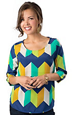 Karlie® Women's Navy, Turquoise, Green, Yellow and White Large Chevron 3/4 Cuffed Sleeves Fashion Top