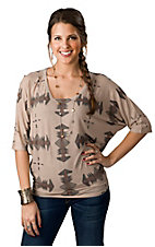 Karlie® Women's Tan with Black Aztec 3/4 Dolman Sleeve Fashion Tee