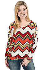 R. Rouge� Women's Orange, Red, and Yellow Chevron Long Dolman Sleeve Fashion Top