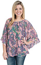 R. Rouge� Women's Pink, Black and Turquoise Paisley 3/4 Bell Sleeves Chiffon Fashion Top