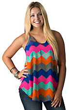 R. Rouge Women's Multicolor Chevron Print Sleeveless Chiffon Top