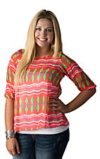 R. Rouge Women's Coral with Multicolor Print & Split Back 3/4 Sleeve Chiffon Fashion Top