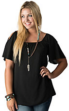 R. Rouge Women's Black Chiffon Cold Shoulder Short Sleeve Top