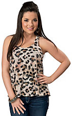 Karlie® Women's Leopard Burnout Racer Back Sleeveless Tank Top