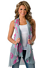 Karlie® Women's Blue and Fuschia Paisley Skull Hi-Lo Fashion Vest