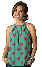 Karlie® Women's Turquoise with Pink Polka Dot Sleeveless Fashion Tie Halter Top