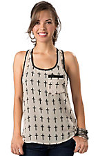 Karlie® Women's Cream with Black Cross Print Pocket Chiffon Sleeveless Fashion Tank Top