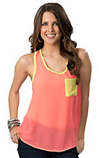 Karlie® Women's Neon Pink with Yellow Pocket Racer Back Chiffon Sleeveless Fashion Tank Top