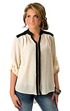 Karlie® Women's Black and Ivory Colorblock 3/4 Sleeve Blouse Fashion Top