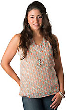 Karlie® Women's Tan and Neon Orange Box Print Sleeveless Fashion Tank Top