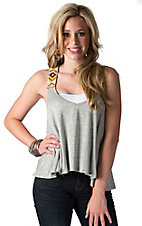 Vintage Havana Women's Grey with Tribal Beaded Straps Cropped Tank Fashion Top
