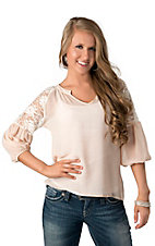 Karlie® Women's Nude with Ivory Lace Shoulder 3/4 Sleeve Fashion Top