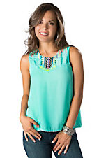 Karlie® Women's Mint with Neon Embroidery and Pleated Back Hi-Lo Fashion Tank Top