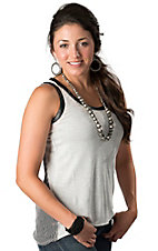Karlie® Women's Black and Light Grey Striped with Leather Sleeveless Tank