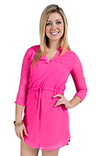 Karlie Women's Solid Pink Waist Tie Long Sleeves Dress
