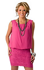 Karlie® Women's Pink Sheer Top with Fitted Crochet Skirt Sleeveless Dress