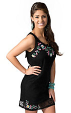 Hot & Delicious® Women's Black Lace with Multi Floral Embroidery Sleeveless Dress