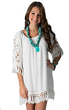 Karlie Women's White with Crochet & Tassel Trim 3/4 Sleeve Dress