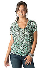 Karlie® Women's Mint Leopard Burnout Dolman Short Sleeve Fashion Top