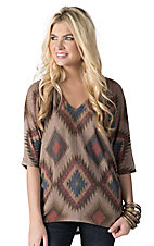 Karlie Women's Brown with Multi Diamond Aztec Print 3/4 Dolman Sleeves Tunic Fashion Top