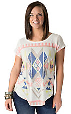 Karlie Women's White with Multi Aztec Design Short Sleeve Tee