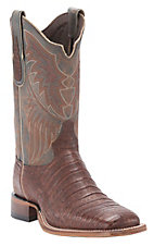 Tony Lama Men's Dark Cognac Vintage Caiman Belly Exotic Square Toe Western Boots