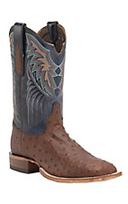 Tony Lama Men's Kango Lux Full Quill Ostrich with Blue Top Exotic Square Toe Boots