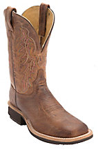 Tony Lama® Mens Vintage Tan Brown Smooth Ostrich Exotic Wide Square Toe Crepe Boot