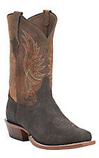 Tony Lama Chocolate Badlands w/Cognac Rolo Top Double Welt 7-Toe Western Boots