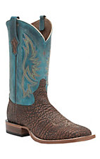 Tony Lama Cedar Maverick Shoulder w/Teal Top Double Welt Square Toe Western Boots