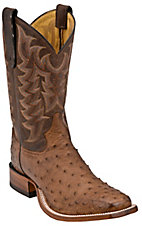Tony Lama Mens Chocolate Brown Vintage Full Quill Ostrich Exotic Square Toe Boots