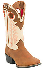 Tony Lama® 3R™ Youth Rojo Brown Bridle w/ Ivory Top Square Toe Western Boot