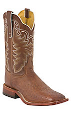 Tony Lama Men's Chocolate Brown Smooth Ostrich Exotic Square Toe Western Boots