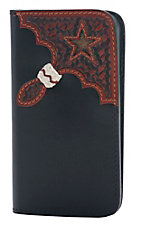 Tony Lama Black with Chestnut Basket Weave & Cowhide Star Iphone 5/5S Cell Phone Case