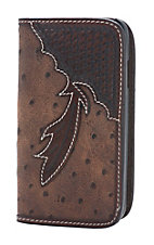 Tony Lama Brown Ostrich Print with Chocolate Basket Weave Feather Samsung Galaxy S4 Cell Phone Case