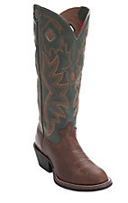Tony Lama® 3R™ Men's Whiskey Brown w/Hunter Green Tall Top Round Toe Buckaroo Western Boots