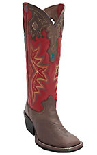 Tony Lama® 3R™ Men's Bay Brown w/Barn Red Tall Top Double Welt Square Toe Buckaroo Western Boots