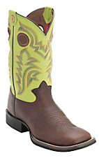 Tony Lama 3R Men's Auburn Brown w/ Green Top Double Welt Square Toe Western Boot