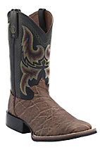 Tony Lama 3R Series Men's Pecan Elephant Grain w/ Black Top Double Welt Square Toe Boots