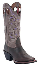Tony Lama 3R Women's Dark Walnut Brown w/ Tawny Embroidered Top Double Welt Punchy Square Toe Western Boots