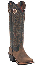 Tony Lama 3R Women's Whiskey Brown w/Black Top Round U-Toe Buckaroo Western Boots